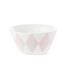 Vit skål med rosa harlekin mönster