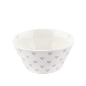 Vit skål med rosa hjärtan