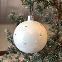 Julgranskula munblåst med silvriga dots (stor) - Kärrstegen