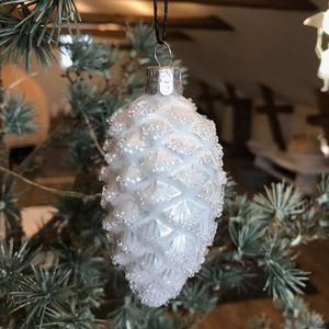 Julgranskula munblåst silvrig kotte - Kärrstegen