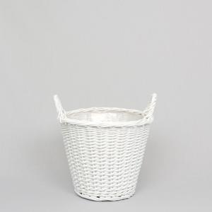 Korg rund med handtag (liten) - vit